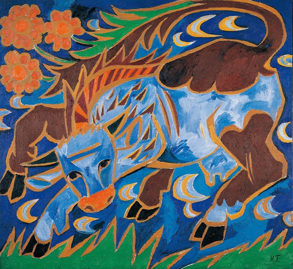 """Наталья Гончарова, """"Синяя корова"""", 1911"""
