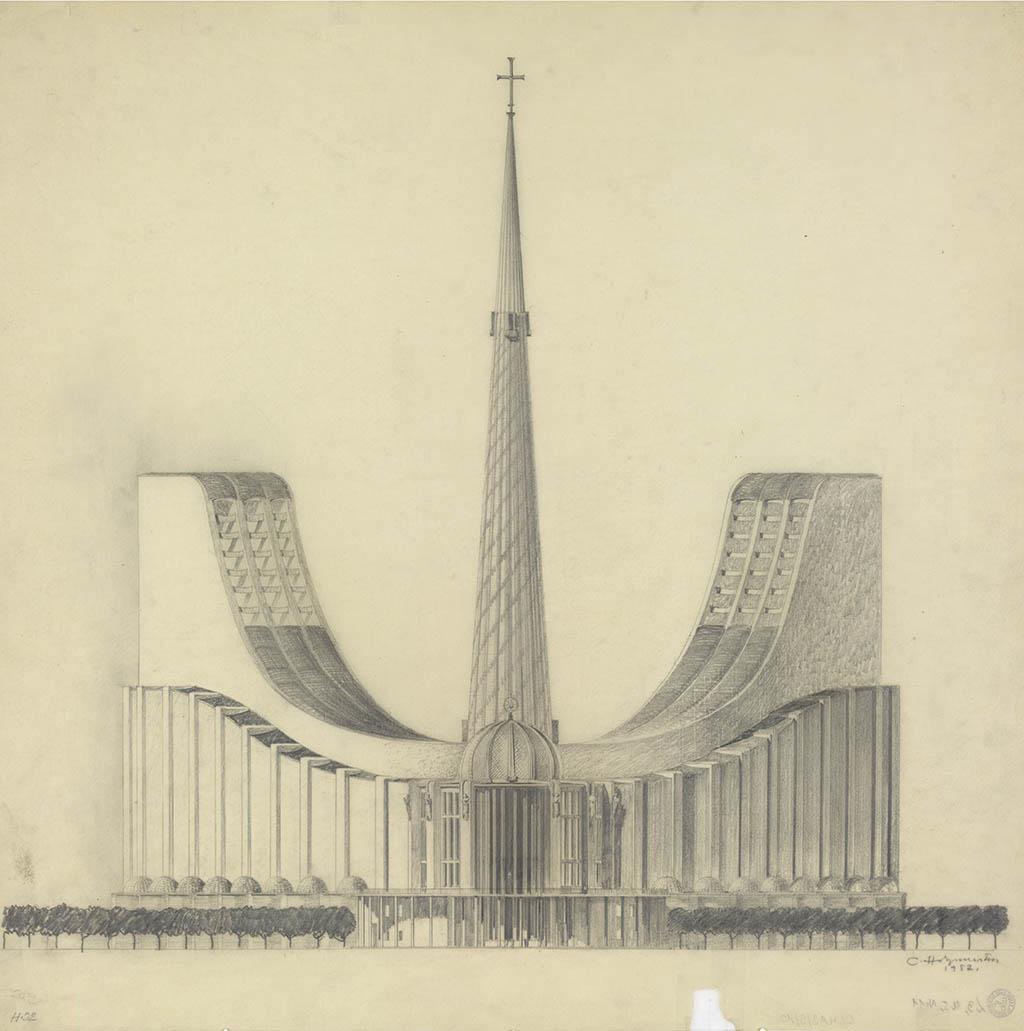 Клеменц Хольцмейстер Проект собора в Рио де Жанейро, 1952 Карандаш