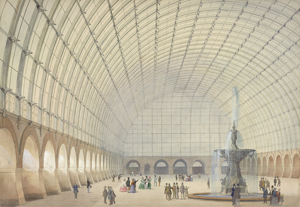Поль Эдуард Спренгер Перспектива интерьера пространства индустриальной выставки в Вене, 1853 Акварель, карандаш