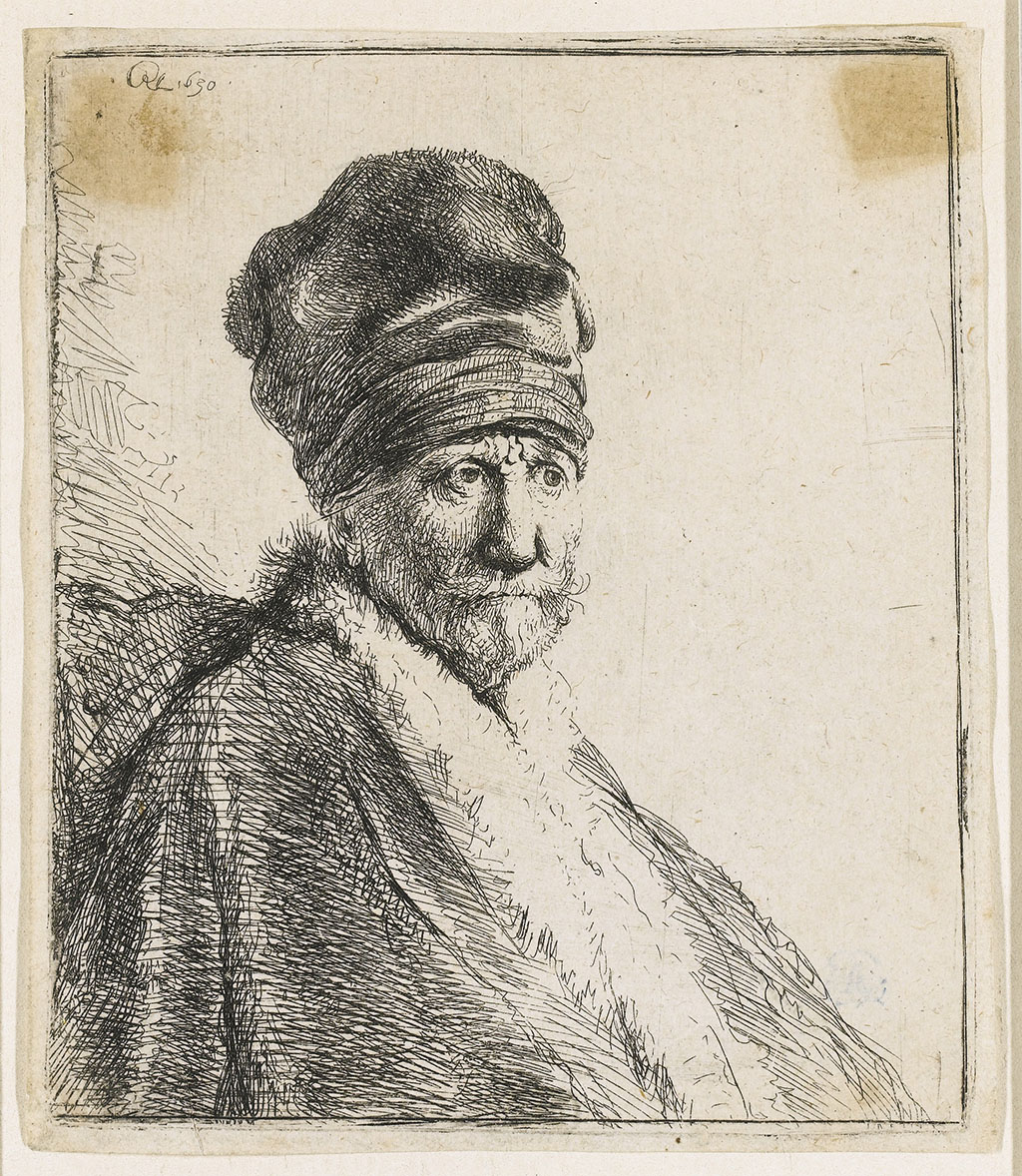 "Rembrandt ""Bust of a Man Wearing a High Cap"""