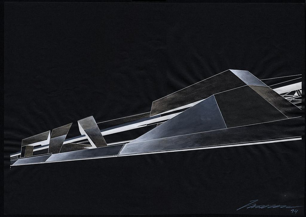 Заха Хадид Проект расположения зданий на набережной дунайского канала. Перспектива, 1994 Гуашь, черная бумага