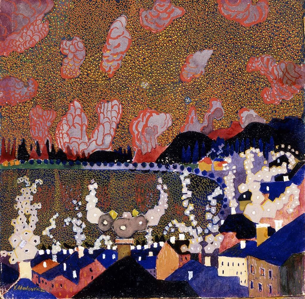 Малевич Казимир Северинович (1879–1935) «Городок» 1910 (?) Бумага на картоне, гуашь, лак 17,6×18 см Саратовский государственный художественный музей имени А.Н.Радищева