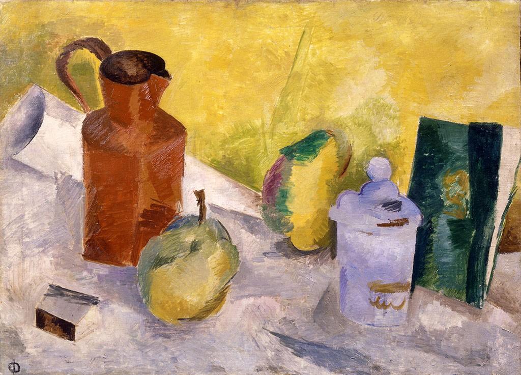 Фальк Роберт Рафаилович (1886–1958) Натюрморт на желтом фоне 1917 Холст, масло 58×80 см ГБУК АО «Музейное объединение»