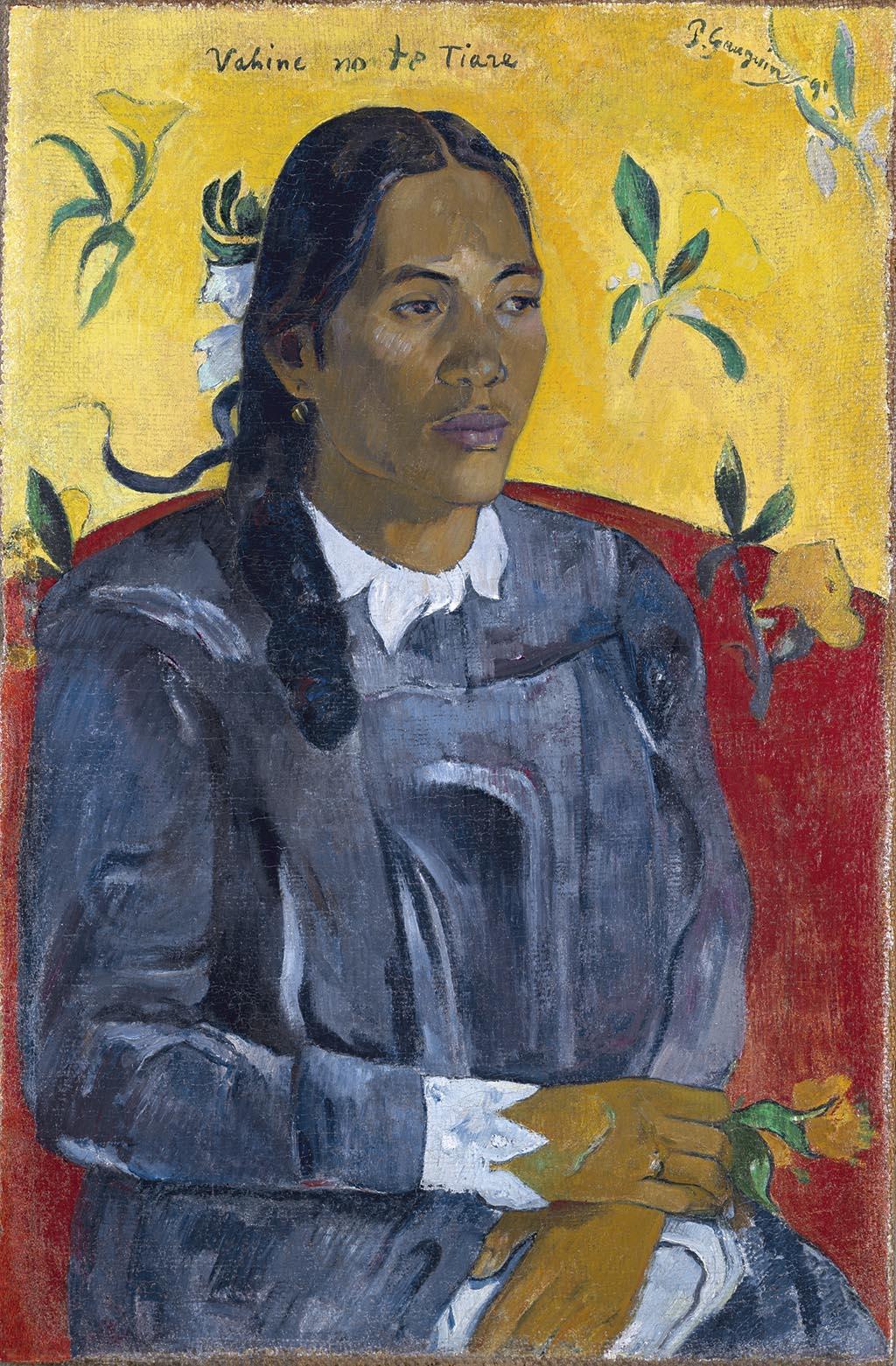 Поль Гоген «Таитянская женщина с цветком» 1891