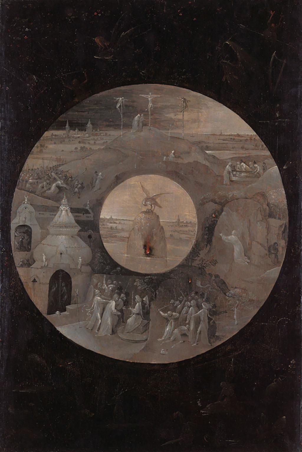 Иероним Босх «Сцены страстей Христовых и пеликан с птенцами» (оборотная часть доски) ок. 1490-95