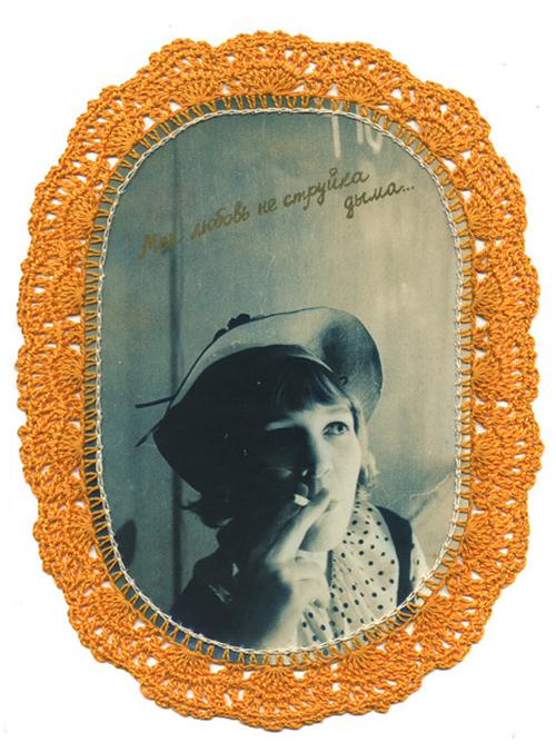 """Серия """"Люби меня, как я тебя"""" Фотобумага, ручная авторская печать, вязаное кружево 1992"""