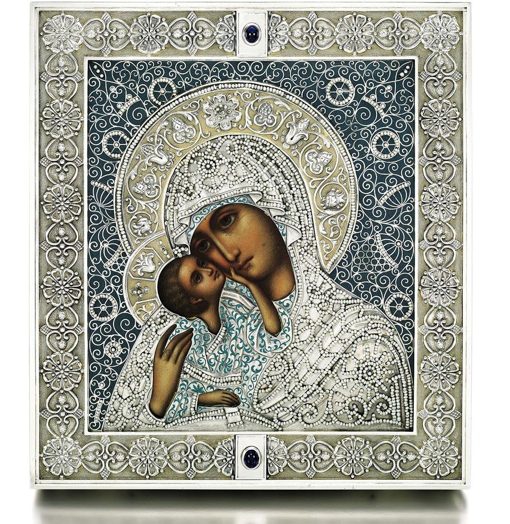 Икона Богоматери Pelagonitissa в серебряном окладе c эмалью, инкрустированным речным жемчугом Фаберже Москва 1908-1917гг.