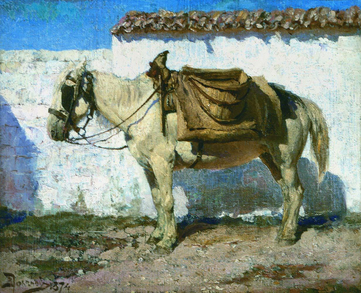 """""""Белая лошадка. Нормандия. Этюд."""" 1874"""