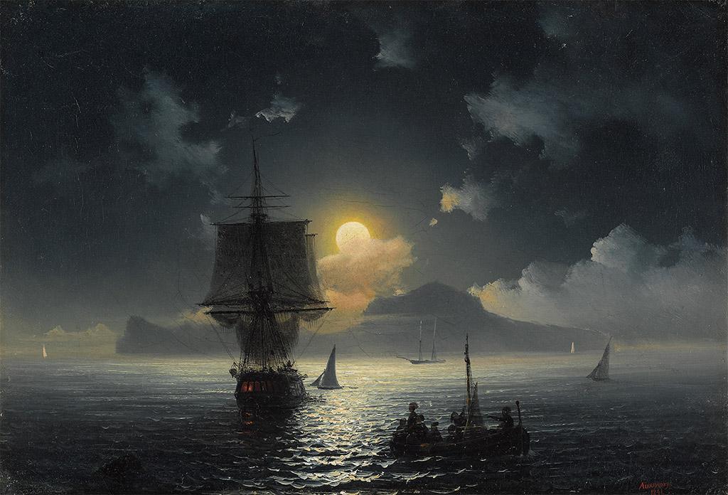 """""""Лунная ночь на Капри"""" 1841 Третьяковская галерея"""