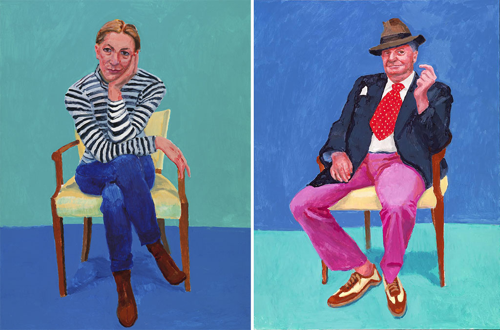 """Edith Devaney, 11th, 12th, 13th February 2016"" / ""Barry Humphries, 26th, 27th, 28th March 2015"" (c) David Hockney Photo credit: Richard Schmidt"