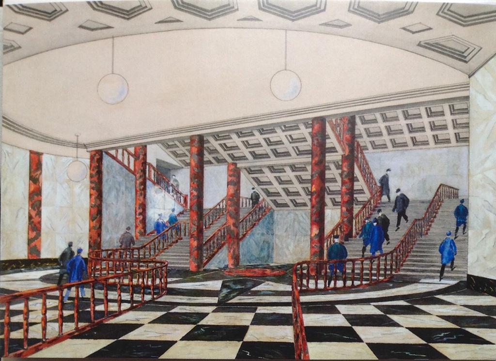 И.А.Фомин, соавтор Н.Н.Андриканис Проект станции «Красные ворота» 1934 Наземный павильон. Интерьер нижнего зала.