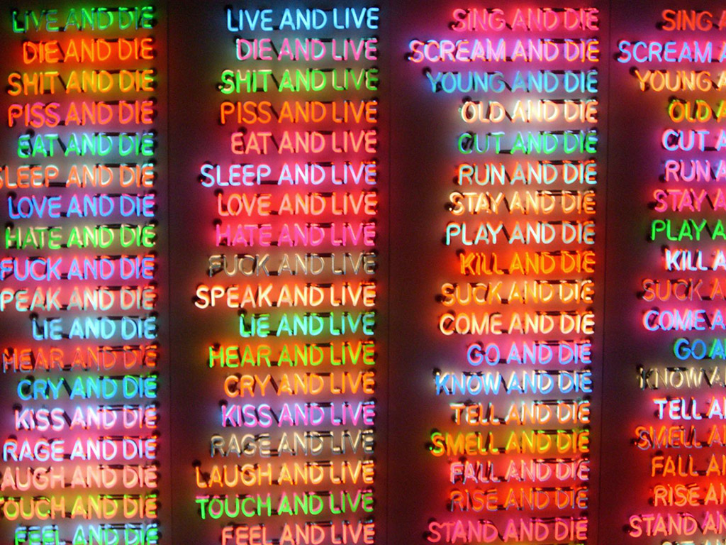 "Bruce Nauman ""100 Live and Die"" 1984 Benesse Art House, Naoshima"