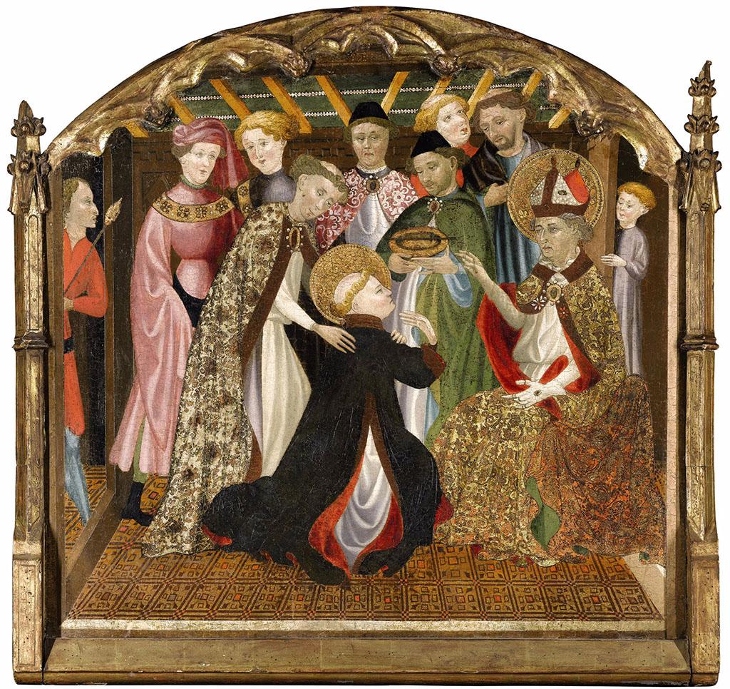 """Каталонская школа, XV век """"Крещение Леонарда Святым Ремигиусом"""""""