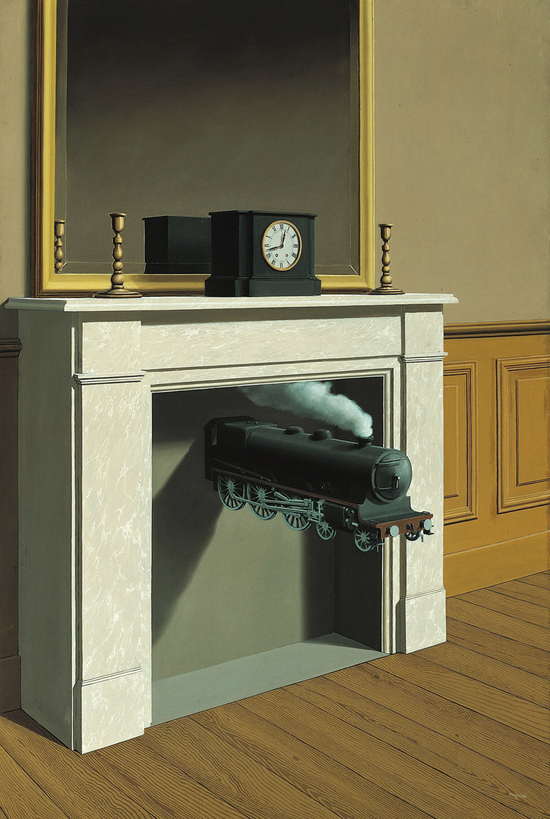 Auteur(s) : René Magritte Titre : La durée poignardée Date : 1938 Domaine : Peinture Technique : Huile sur toile Dimensions : 147 x 99 cm Localisation : Chicago, The Art Institute Mention obligatoire : © Photothèque R. Magritte / Banque d'Images, Adagp, Paris, 2016