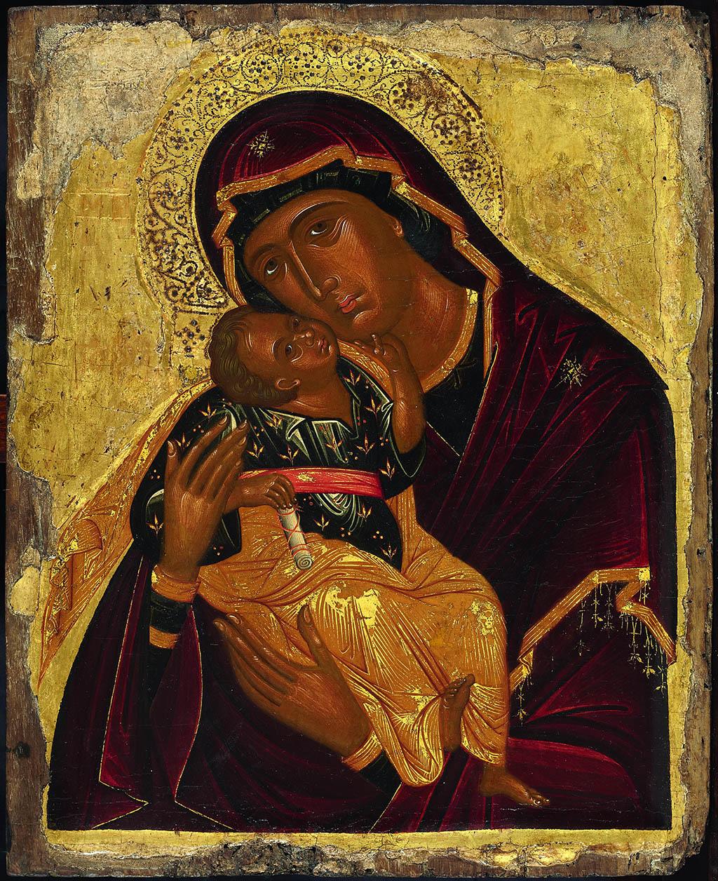 Икона «Богоматерь Гликофилуса» Середина XV века. Крит Мастерская Ангелоса Акотантоса