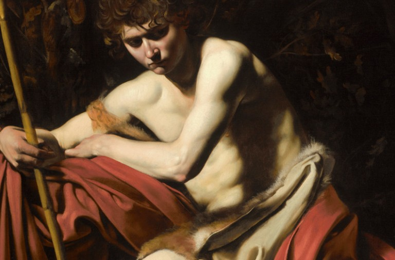 1571-1610 Michelangelo Merisi, called Caravaggio Lombard Painting European Painting and Sculpture Purchase: William Rockhill Nelson Trust Italian Unframed: 68 x 52 inches (172.72 x 132.08 cm) Framed: 77 ¼ x 60 7/8 x 4 inches (196.22 x 154.62 x 10.16 cm) 1604-1605 Saint John the Baptist in the Wilderness