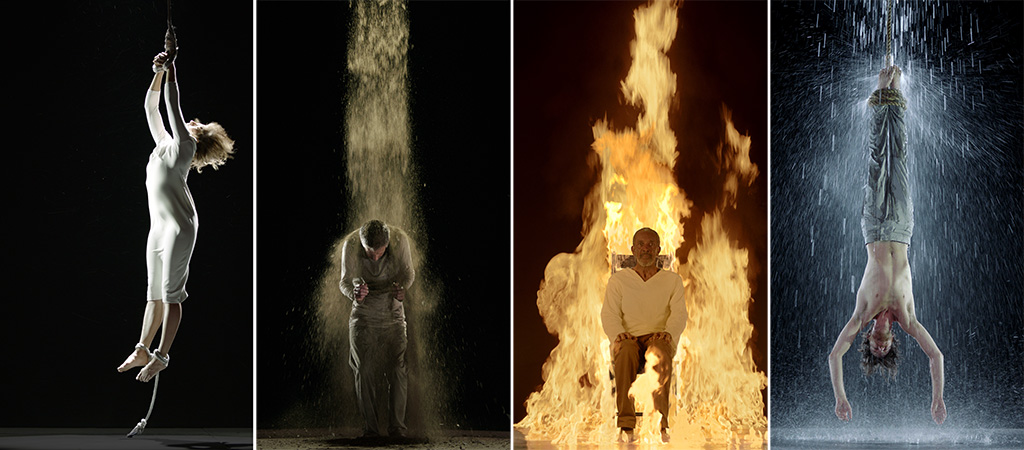 Martyrs series: Air Martyr, Earth Martyr, Fire Martyr, Water Martyr 2014 Courtesy Bill Viola Studio